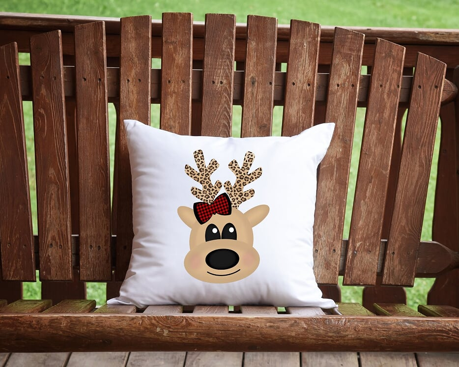 Merry Christmas Reindeer Throw Pillow