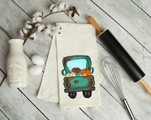 Rustic Pumpkin Pick Up Truck Kitchen Towel