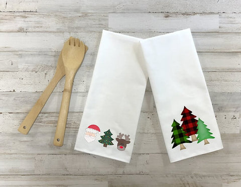 Santa And Christmas Trees Kitchen Towel Set, Set Of Two Towels