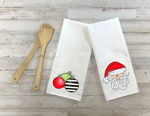 Santa And Christmas Ornaments Kitchen Towel Set, Set Of Two Towels