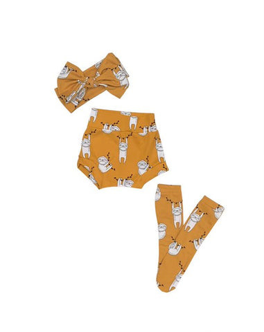 Sloth High Waisted Bummie Set, Bow and Knee highs