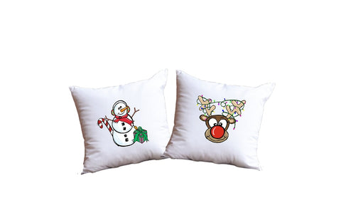 Snowman And Reindeer Throw Pillow Set
