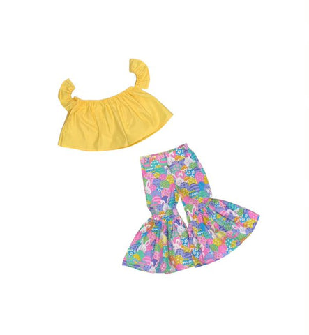 Summer Yellow Crop Top And Glitter Bunny Ruffle Bell Bottoms