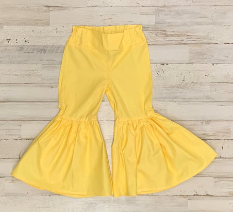 Summer Yellow Ruffle Bell Bottoms
