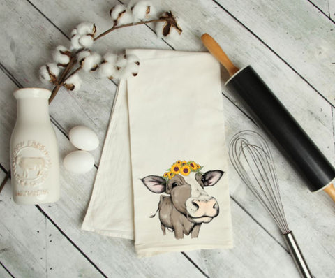 Sunflower cow Kitchen Towel