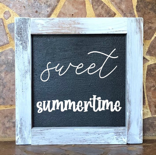 Sweet Summertime Square Farmhouse Sign