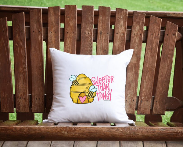 Sweeter Than Honey Bumble Bee Throw Pillow