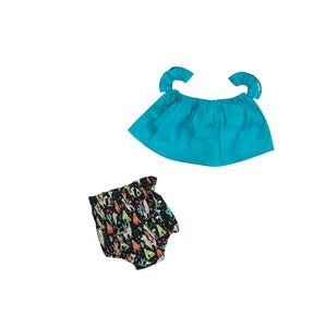 Turquoise Crop Top And A Whole Llama Love Bloomers