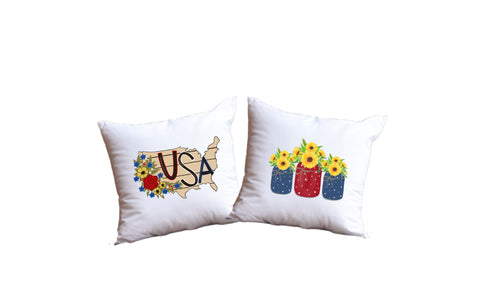 USA And Patriotic Flowers Throw Pillow Set