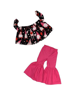 Valentine's Day Gnomes Crop Top And Hot Pink Ruffle Bell Bottoms