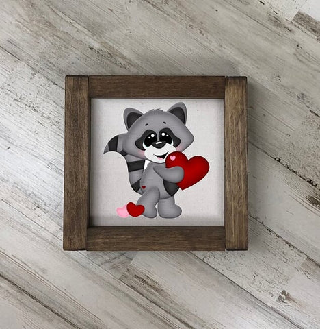 Valentine's Day Raccoon Sign
