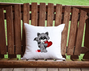 Valentine's Day Raccoon Throw Pillow
