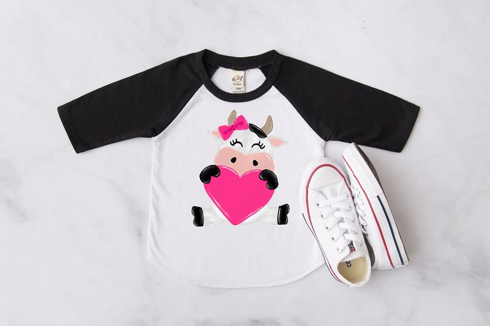 Valentine's Day Cow Black Raglan, Multiple Sizes Available