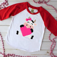 Valentine's Day Cow Red Raglan, Multiple Sizes Available