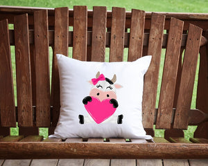 Valentine's Day Cow Throw Pillow