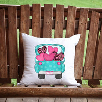 Valentine's Day Pickup Truck Throw Pillow