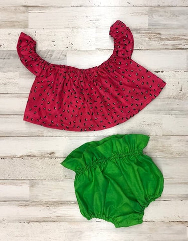 Watermelon Seeds Crop Top and Bloomers