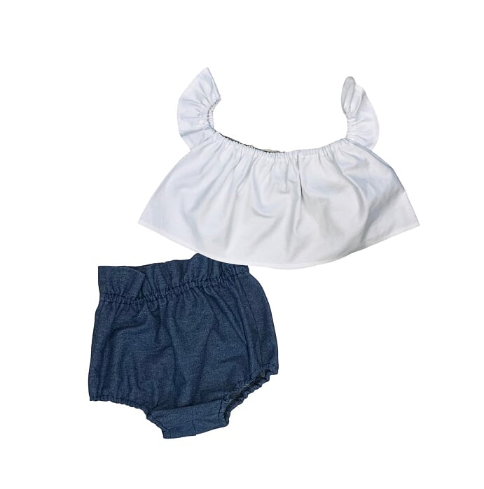 White Crop Top and Denim Bloomers