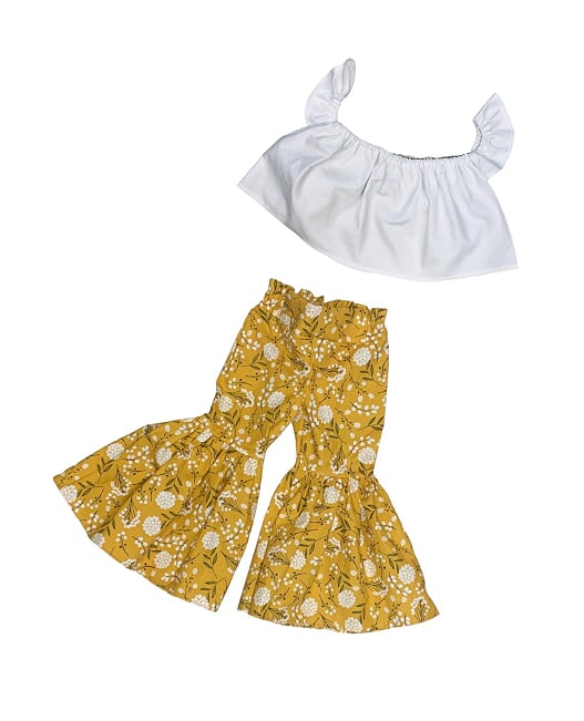 White Crop Top and Mustard Floral Bell Bottoms