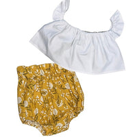 White Crop Top and Mustard Floral Bloomers
