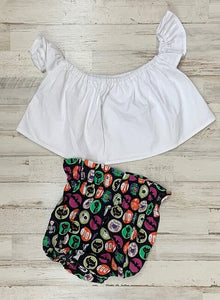 White Crop Top and Halloween Sticker Bloomers