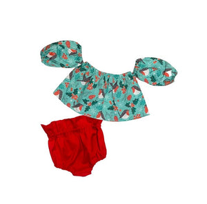 Winter Birds Crop Top And Red Bloomers