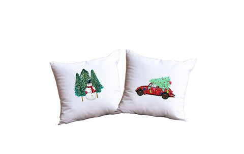 Winter Snowman And Christmas Car Throw Pillow Set