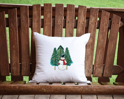 Winter Snowman Throw Pillow