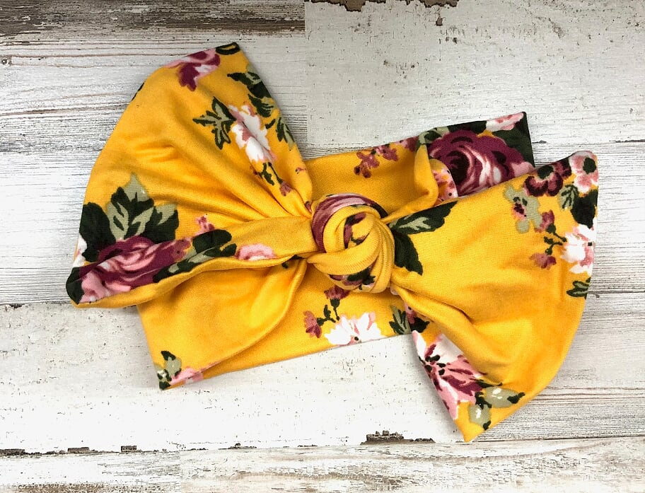 Yellow Floral Headwrap Bow