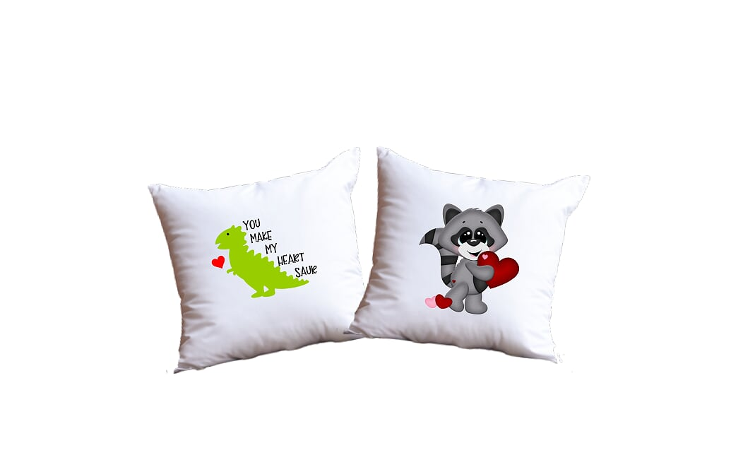 You Make My Heart Saur And Valentine's Day Raccoon Throw Pillow Set