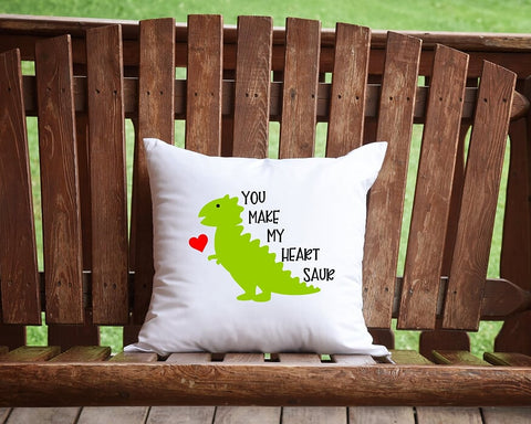 You Make My Heart Saur Throw Pillow