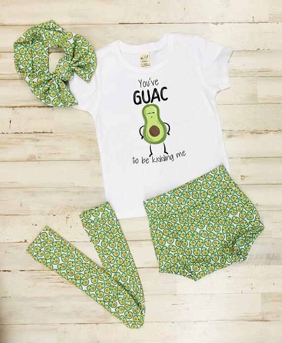 You've Guac To Be Kidding Me High Waisted Bummie Set With T Shirt, Bow, and Knee highs