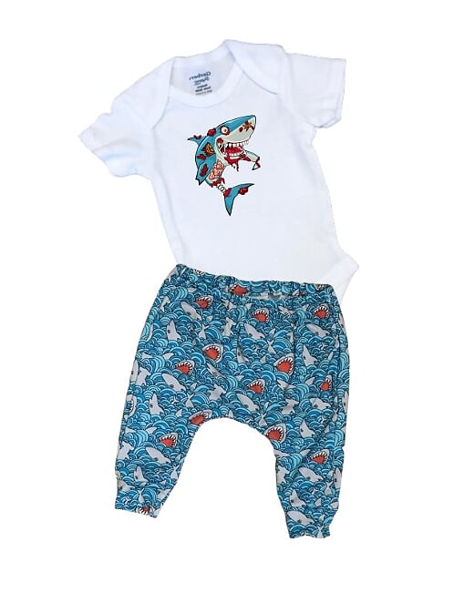 Zombie Shark Infant or Toddler Outfit
