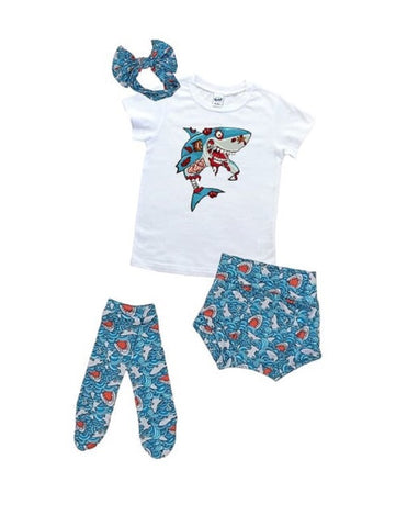 Zombie Shark High Waisted Bummie Set With T Shirt, Bow, And Knee Highs