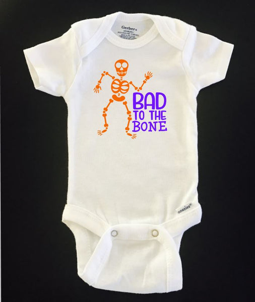 Bad To The Bone Skeleton Halloween ONESIE ® brand Gerber