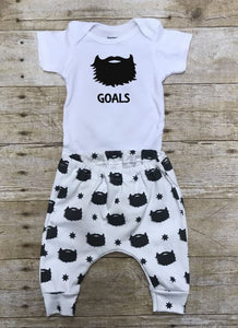 Beard Goals Pants and Bodysuit Infant or Toddler Outfit