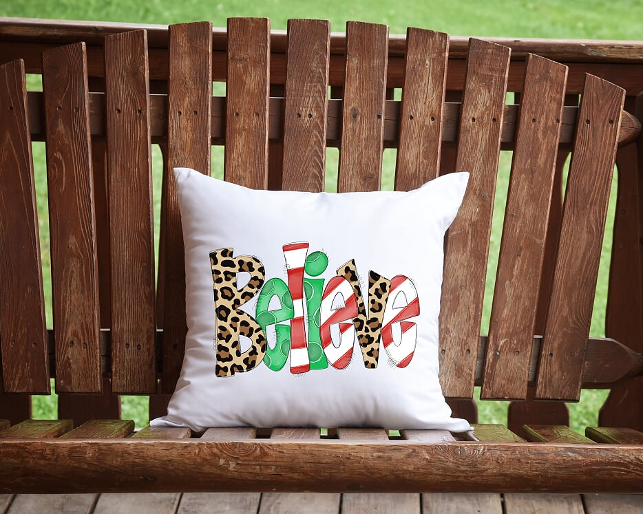 Believe Christmas Throw Pillow