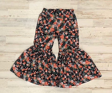 Black Floral Ruffle Bell Bottoms