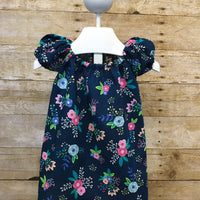 Blue Floral Peasant Dress