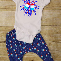 Bomb Pop 4th of July outfit pants and bodysuit or T-shirt outfit