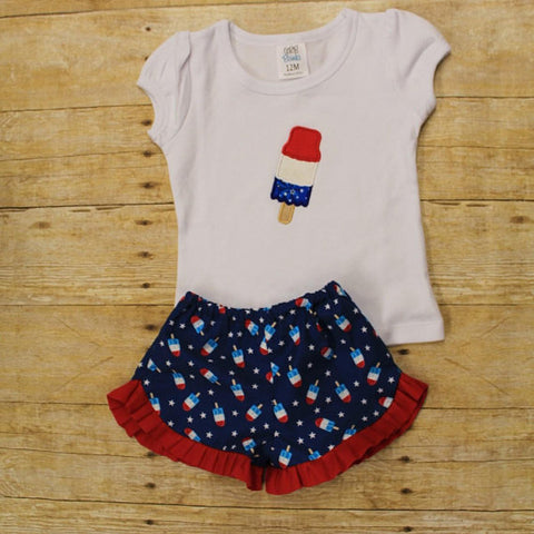 Bomb Pop 4th of July ruffle shorts applique outfit