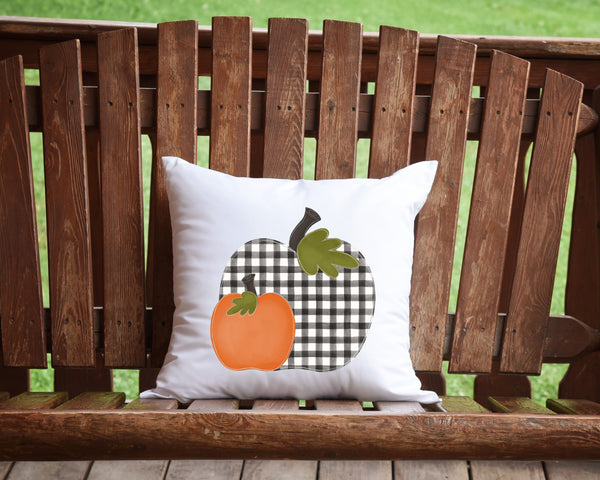 Buffalo Plaid Pumpkin Throw Pillow