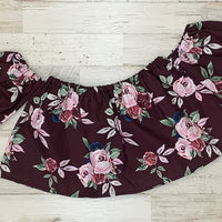 Burgundy Floral Crop Top