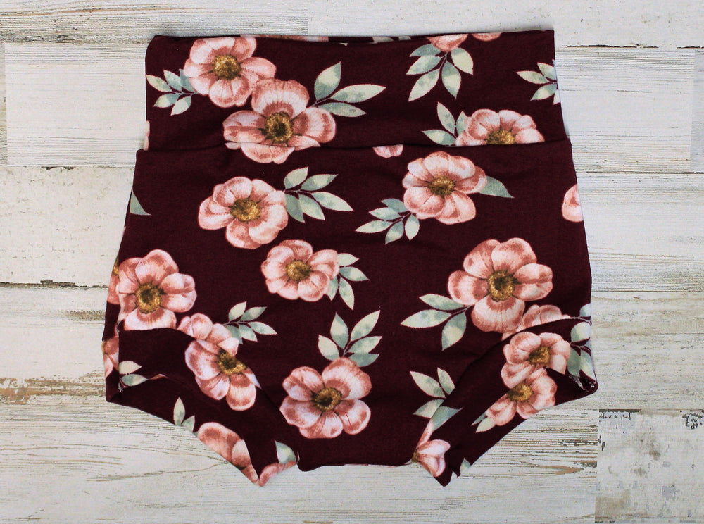 flat lay of floral bummies