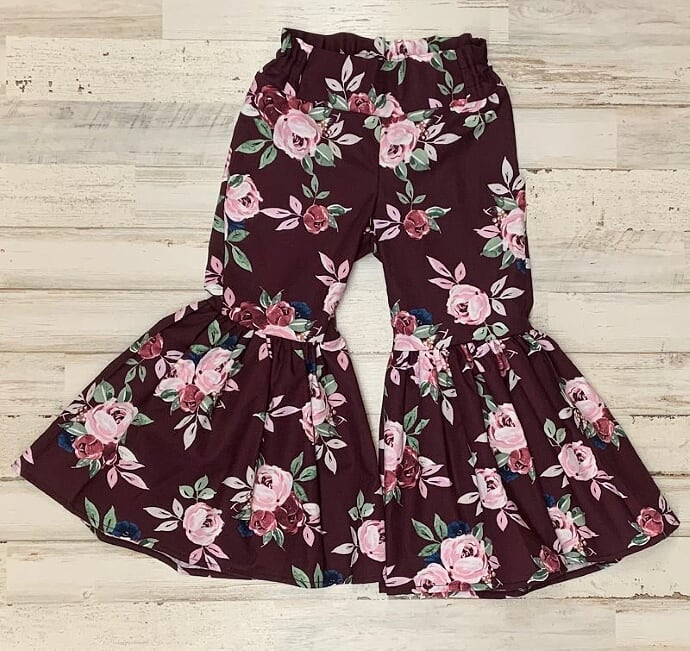 Burgundy Floral Ruffle Bell Bottoms