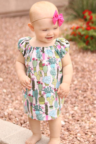 Cactus Everywhere Peasant dress