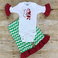Christmas Ruffle Pants Outfit