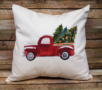 Christmas Tree Truck Throw Pillow