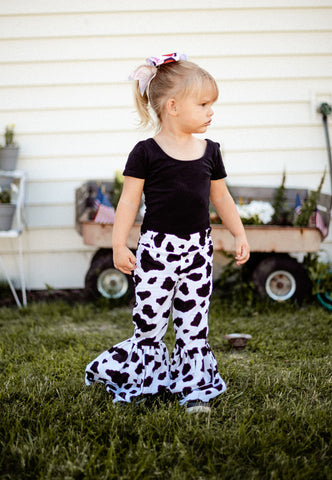 Cow Print Ruffle Bell Bottoms