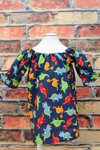 Dinosaur Peasant dress